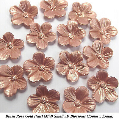 12 Rose Gold Pearl 3D Blossoms Edible Flowers Wedding Cake Cupcake Decorations • 5.70£