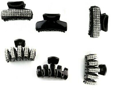Small  Hair Claw Clamp Grip  Clips - Black Set Of 2  Plain-Crystal Diamante  • 3.95£