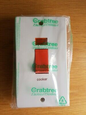 £12.95 • Buy Crabtree 4500/31 Switch Fitted With Neon Indicator 50A DP White Marked  Cooker