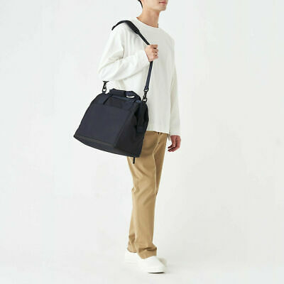 $123 • Buy MUJI Water Repellent Boston Bag Travel Trip NAVY Can Be Spread Large Wide JAPAN