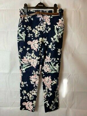 £8.99 • Buy Brand New Nutmeg Navy Floral Slim Cropped Trousers Size 8