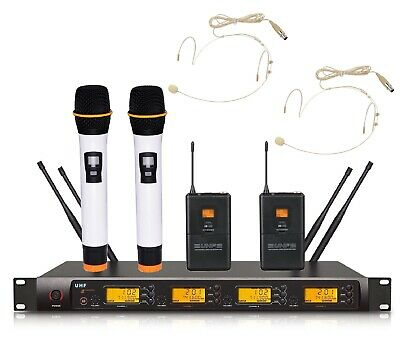 Wireless Microphone For Church UHF 4 Channel 2 Headset 2 Handheld Micropone Set • 211.57£