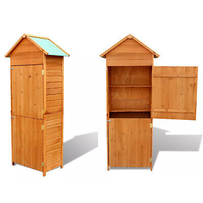 Outdoor Garden Shed Wooden Tool Storage Shelves Utility Cabinet Waterproof Roof • 181.60£