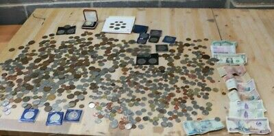 Large Job Lot Of 6KG UK & FOREIGN Unsorted COINS & BANKNOTES Various Eras  -205 • 45.88£