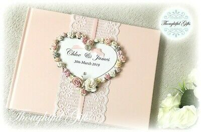 💖Luxury Personalised Pink White Wedding Guest Book Floral Heart/ Lace/ Diamante • 27.99£