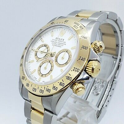 $12550 • Buy 1997 Rolex Daytona 16523 Zenith White Dial 18kt Two Tone Mint 40mm
