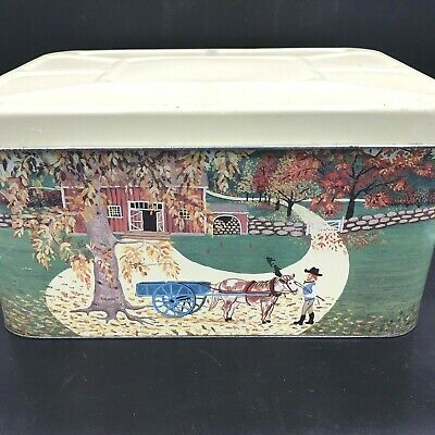 $59.95 • Buy Vintage Meister Bread Box Tin Canister W/ Lid Farm Horse Cart Made In Brazil TSH