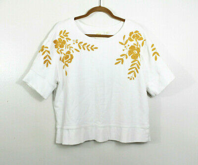 $ CDN32.61 • Buy Maeve By Anthropologie Large Vineland Embroidered Sweatshirt Short Sleeve White