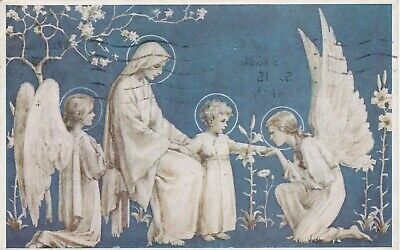 The Little Son, With Mary & Angels : Margaret Tarrant Religious Postcard (1939) • 3.99£