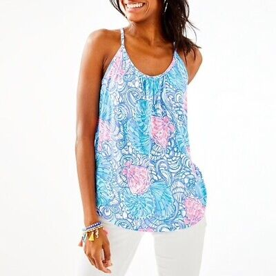 $36 • Buy Lilly Pulitzer NWT Lacy Top In Blue Haven Raising Shell Pattern SZ Small