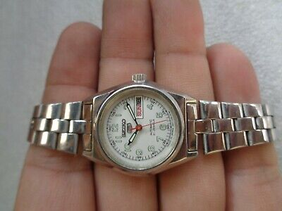 $ CDN107.25 • Buy Rare Vintage Ss Silver White Military Style Seiko 5 Ladies Automatic Wristwatch