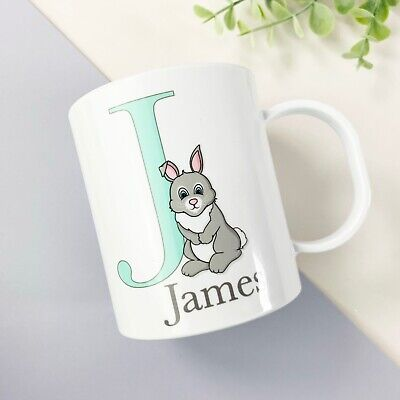Children's Personalised Easter Cup, Plastic BPA Free, Mint Bunny Design  • 10.99£