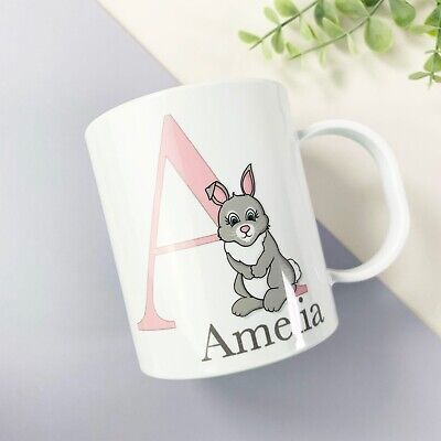 Children's Personalised Easter Cup, Plastic BPA Free, Pink Bunny Design  • 10.99£