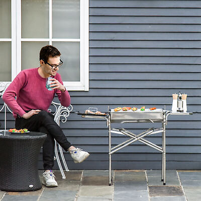 $ CDN97.99 • Buy Outsunny Kebab Barbecue Charcoal Stainless Steel Smoker BBQ Grill Smoker