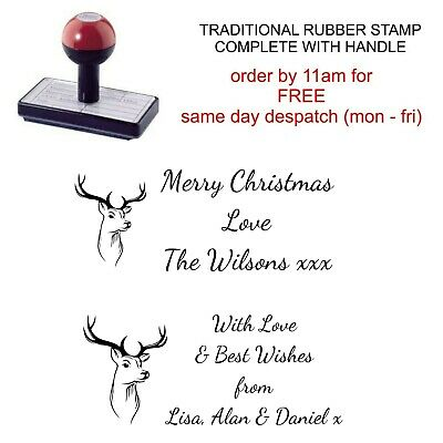 Personalised Christmas Rubber Stamp Custom Your Name, Family And Stag Head Image • 8.95£