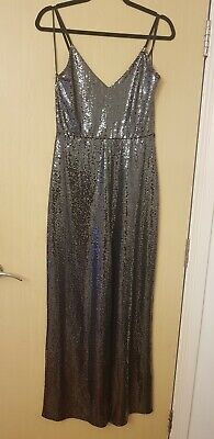 🌲MissSelfridge Metallic Silver Sparkly Jumpsuit  Size12 RRP£55. Only Worn Once • 10.90£