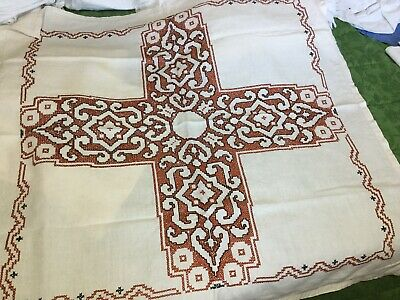 Vintage Old French Linen Hand Embroidered Tablecloth • 6£