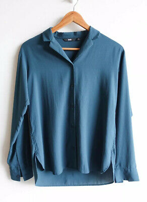 AU15 • Buy UNIQLO Size S Womens Dark Green Collared Long Sleeve Blouse