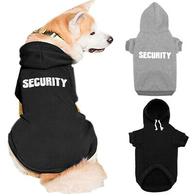 £9.36 • Buy SECURITY Dog Jacket Hoodie Black Gray French Bulldog Clothes Small Medium Dogs
