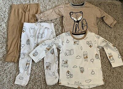 Unisex Baby Set Of 2 Outfits Mix & Match Beige Wooland Animal Print 9-12  • 2.50£