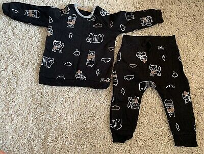 Baby Boy George Outfit Wooland Animal Print Sweater Material 9-12 Month • 1.40£