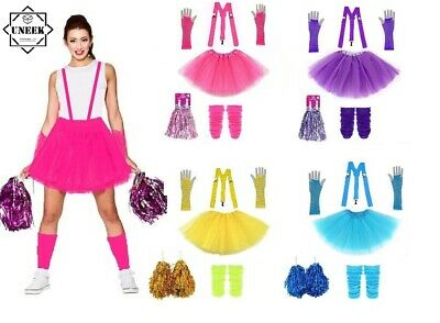 2 X  POM POMS CHEERLEADER Fancy Dress Accessory Dance Group Theatre Shows UK    • 12£