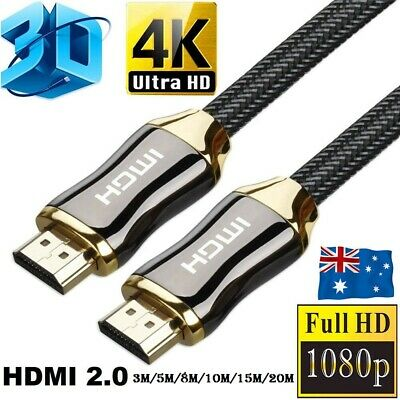 AU6.99 • Buy 20M 4K Ultra HD Premium HDMI Cable V2.0 3D High Speed Gold Plated Ethernet AU