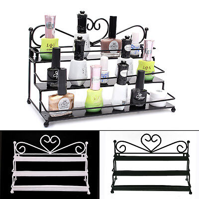 Heart 3 Tiers Metal Nail Polish Shelf Rack Cosmetic Varnish Display Stand Holder • 6.99£