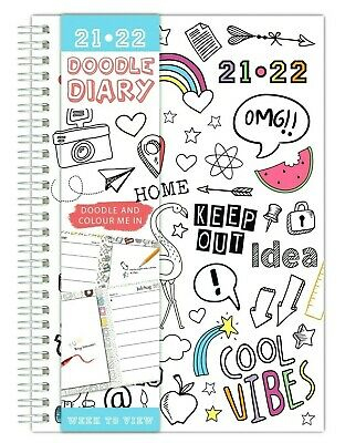 £3.19 • Buy A5 Week To View 2021-2022 Academic Diary Spiral Colour Your Own Student Diary