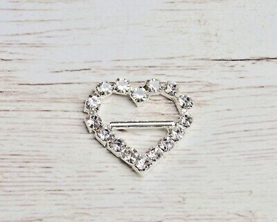 5x Heart Buckle - Silver Crystal Rhinestone Bling 20mm Craft Hair Supplies • 2.95£