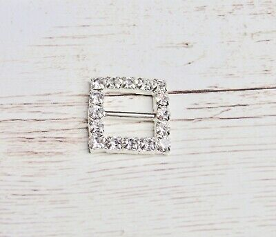 5x Square Buckle - Silver Crystal Rhinestone Bling 15mm Craft Hair Supplies • 2.95£