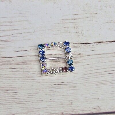 5x Square Buckle - Multi Colour - Crystal Rhinestone Bling 15mm Craft  • 2.95£
