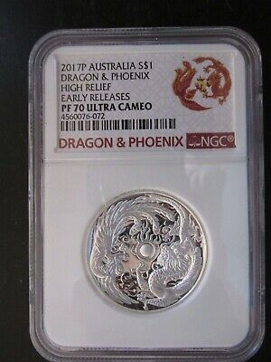 $169.99 • Buy 2017P Australia  Dragon & Phoenix  High Relief Graded PF 70 Ultra Cameo By NGC