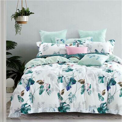 AU49 • Buy 100% Cotton Quilt Doona Duvet Cover Set Pillowcase Bedding All Size Plantain