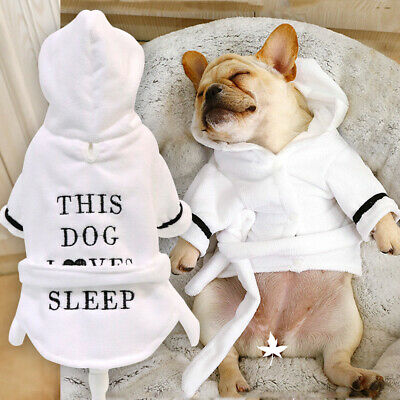 £8.50 • Buy French Bulldog Clothes Dog Pajamas Hoodie Bathrobe Puppy Pet Thickened Nightgown