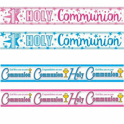First Holy Communion Foil Banners Pink Blue Communion Decorations  • 1.99£