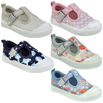 Boys Girls Clarks City Dance T Clasp Casual Canvas Cruiser Shoes Infant Size • 22£