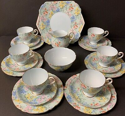 Shelley Melody Pale Blue Trim 21 Piece Tea Set • 160£