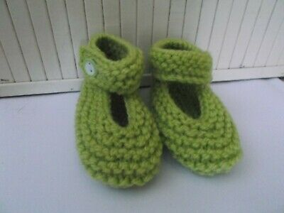 Hand Knitted Baby Shoes/Booties 0-3 Months Lime Green • 1.50£