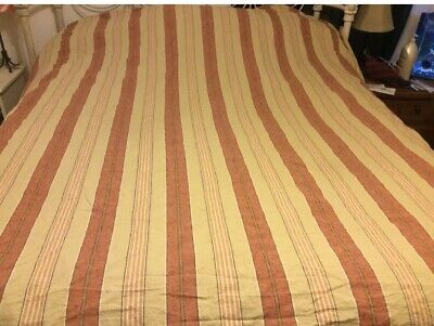 $62 • Buy POTTERY BARN PAOLO STRIPE RED Gold TAN King/ Cal. King Duvet Cover 3 Pieces Set