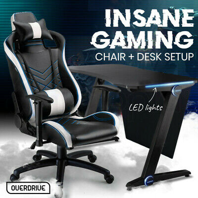 AU479 • Buy 【EXTRA10%OFF】OVERDRIVE Gaming Chair Desk Racing Seat Setup PC Combo Black
