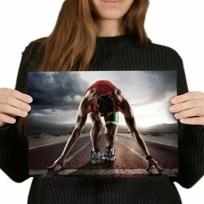 A4 - Running Track Athlete Exercise Poster 29.7X21cm280gsm #14521 • 4.99£