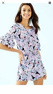 $59.99 • Buy NWT New Lilly Pulitzer Lula Romper High Tide Navy Its For Shore Size M