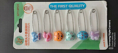 Diaper / Nappy Pins Beautiful Animal Design Pack Of 6 • 2.99£