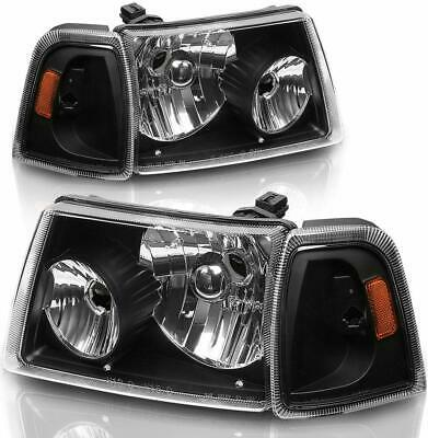 $156.23 • Buy For 2001-2011 Ford Ranger Black Headlights With Amber Corner Turn Signal Lamps