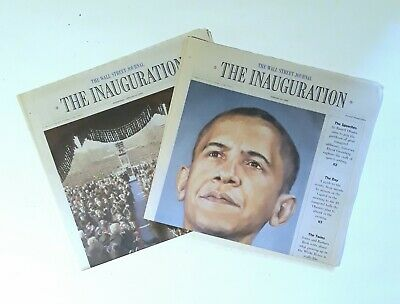 $28 • Buy ☆ 2 Wall Street Journal PRESIDENT BARACK OBAMA INAUGURATION Historic NEWSPAPERS