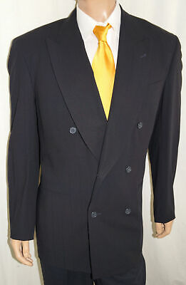 $69 • Buy VINTAGE 1990s 41L DONNA KARAN Couture Blazer Men 41 Black Double Breasted W/flaw