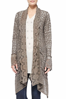 $229 • Buy 💕 JOHNNY WAS Gray CROCHET COVERUP CARDIGAN Kimono Jacket Scalloped L $325 💕