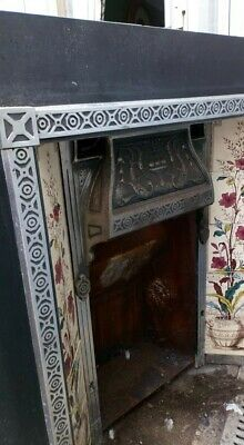 Beautiful Victorian Style Cast Iron Tiled Fireplace Insert With Gas Fittings • 100£