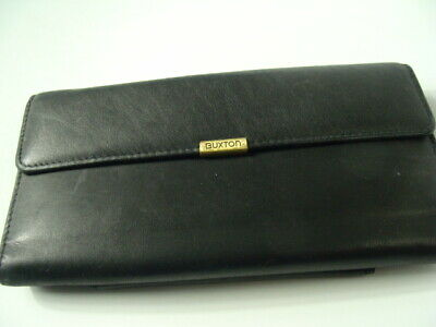 $9.99 • Buy Vtg Buxton Black Leather Coin Purse Wallet Billfold